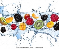 Stock Photo Fresh Fruits Falling In Water Splash Isolated On